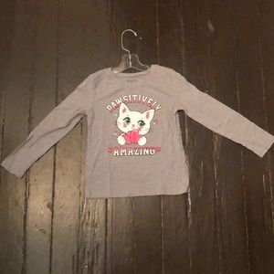 Girls Gray Kitten Long Sleeved Tee